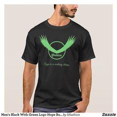 Men's Black With Green Logo Hope Basic T-Shirt