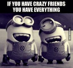 Crazy friends... I've got it all!!! #minions ;-) / Bringing humor to your day with love... + Totally true