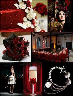 red, black, white wedding