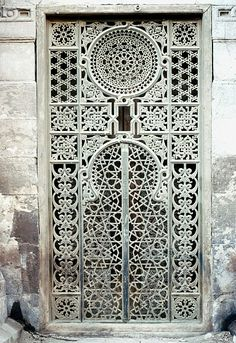 Image EGY 0810 featuring door or doorway from the Sabil-Kuttab of Sultan Qaitbay, in Cairo, Egypt, showing Geometric Pattern using metalwork.