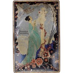 c1920s Art Deco Chocolates Advertising Tin