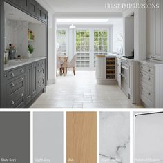Eildon Inframe Bespoke Painted Kitchen in Slate Grey & Light Grey Shaker Style Kitchens, Shaker Kitchen, Hampshire, Winchester, Solid Wood Kitchens, Fitted Kitchens, Galley Kitchen Design, Kitchen Layout, American Style Fridge Freezer