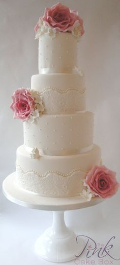 Lace, Pearl and Rose Wedding Cake