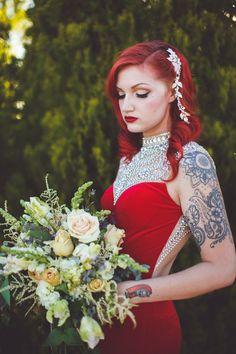 Elaborate neckline for Jessica Rabbit wedding dress