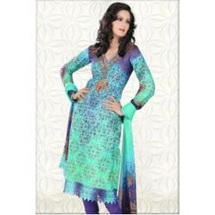 Sky Blue and Blue Cotton Churidar Kameez with Dupatta