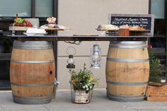Hors d'oeuvres served on barrel tables