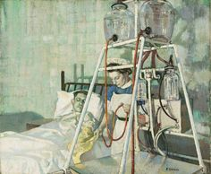 A Bunyan-Stannard Irrigation Envelope for the Treatment of Burns, Applied by Sister Roberts in Middlesex Hospital Ethel Leontine Gabain Imperial War Museum London Feeling Faint, Women's Land Army, Ww1 Art, Nurse Art, Art Uk, French Artists, Your Paintings, Oil On Canvas, Art Projects