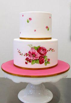 Dort marcipánový * k narozeninám - s malovanými růžemi ♥
