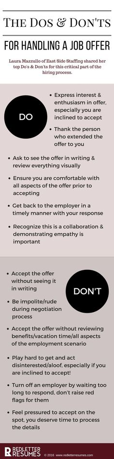 The Dos & Don'ts of the Job Offer. Make sure you have all the information you need to make a smart decision! /redletterresume/