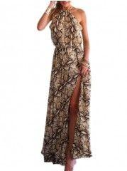 Printed Elegant Halter Maxi Dress