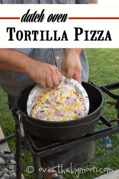Dutch Oven tortilla pizzas