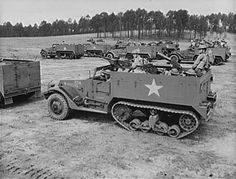 armoured vehicle: U.S. soldiers training in M3 half-tracks, 1942