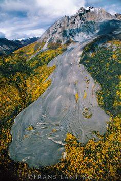 Rock glacier (aerial), Sourdough Peak, Wrangell-St. Elias National Park, Alaska