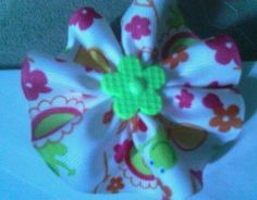 hot pink. light pink yellow and lime green round ruffled hanmade hairclip $4.00