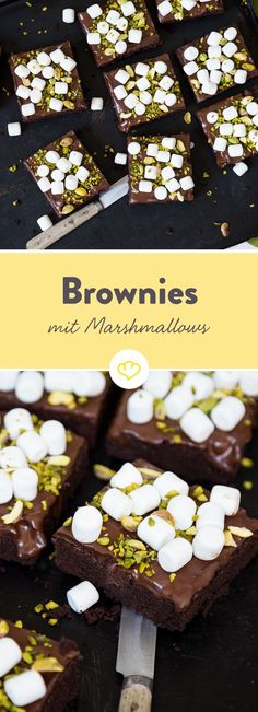 Die Kombination aus Brownie und Marshmallow erinnert an die vielen süßen Schokoküsse - nur viel besser. Sind ja auch noch Pistazien obendrauf.