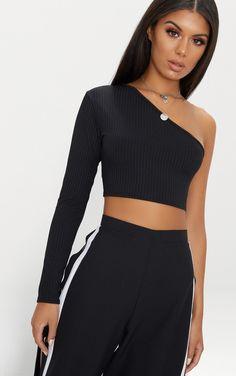 6fe16292d0f Black One Shoulder Rib Crop Top. One Shoulder ShirtOne Shoulder TopsBlack Crop  Top OutfitBlack ...