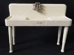 Antique Arcade Cast Iron Doll House Salesman Sample Toy Crane Kitchen Sink