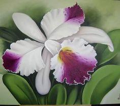Resultado de imagen para pintura orquideas #pinturasobretela
