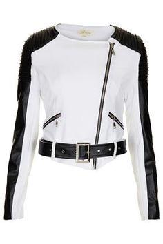 Colourblock biker jacket by Goldie --- #springjacket