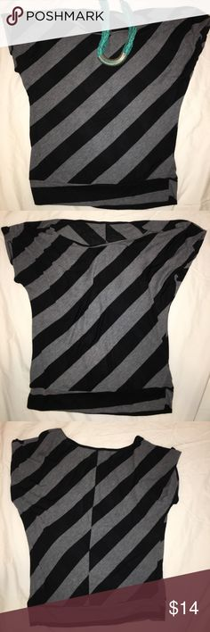 Black Striped Top Black and grey diagonal striped top. Tops Blouses