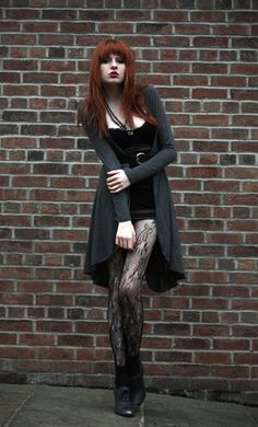 Long Drapey Cardigan, Vintage Mesh Body, Mesh Wrap Skirt, Black Lace Tights