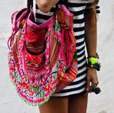 B O H E M I A N ☮ ❁ ғollow ↠ @ladyѕcorpιo101 ↞ on pιnтereѕт & ιnѕтagraм ғor мore ιnѕpιraтιon ☪ ☆ LadyScorpio101's shop on Etsy https://www.etsy.com/shop/LadyScorpio101 Banjara pink colorful Bag heaven. Fringe beads gorgeous