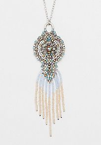 beaded pendant necklace with beaded fringe