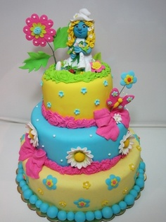 Smurfs cake By GaliaHristovaGuGi on CakeCentral.com