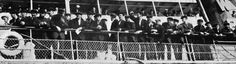 The homecoming of 167 of the 210 survivors of Titanic's crew, seen here aboard the tender Sir Richard Grenville, awaiting their landing at Plymouth. (Topham/Topham Picturepoint/PA Images)