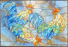 """""""Quality Birds"""" Roosters by Steve Gonzales. This looks like stained glass but good inspiration for mosaic roosters or hens"""