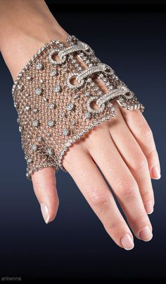 .chain mesh fingerless gloves with diamonds