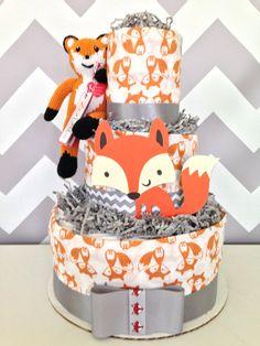 lil fox baby diaper cake fox baby shower centerpiece on etsy