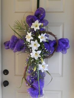 Easter cross--something like this with lilies, dogwood, and palms ... minus the deco mesh