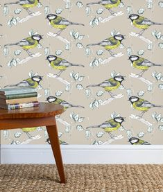 180gsm Wallpaper featuring the Great Tit, Birds, nature, drawings, watercolours. Paste the wall coated, non woven wallpaper. Stone Wallpaper, Luxury Wallpaper, Great Tit, Flora And Fauna, Watercolours, Home Accessories, Giclee Print, How To Draw Hands, Fabrics