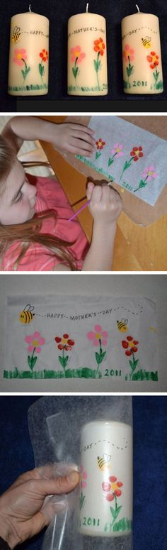 Mothers Day Fingerprint Candles | Click Pic for 22 DIY Mothers Day Craft Ideas for Kids to Make | DIY Mothers Day Crafts for Toddlers to Make - Crafting Issue