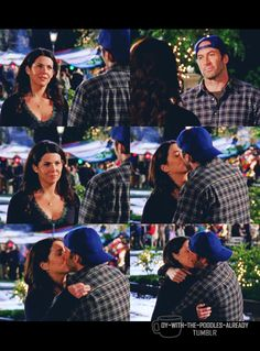 "LORELAI: Thank you.  LUKE: Oh, it's…no big deal.  LORELAI: Luke.  LUKE: I just… like to see you happy.  [Luke and Lorelai move in at the same time and kiss. They hold each other tight.  Music playing as they kiss and the camera raises to show to party in the background ""You can't stop my heart from turning inside out try and stop my world from turning inside out you can't stop my heart from turning inside out""]  7.22 - BON VOYAGE"