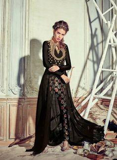 Achkan Style Astounding Salwar Kameez in Black & Georgette Fabric
