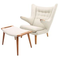 Light Gray / Cream Papa Bear Chair Ap19 by Hans Wegner for A.P. Stolen, 1960…