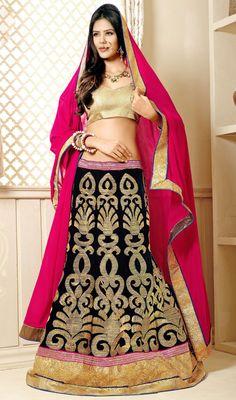 Black Embroidered A Line Choli Skirt Price: Usa Dollar $182, British UK Pound £107, Euro135, Canada CA$198 , Indian Rs9828.