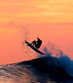surfs up and a beautiful sunset, two for one in his creations.