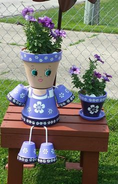 Clay Flower Pot People için resim sonucu - All About Flower Pot Art, Clay Flower Pots, Flower Pot Crafts, Clay Pot Projects, Clay Pot Crafts, Diy Clay, Flower Pot People, Clay Pot People, Painted Clay Pots