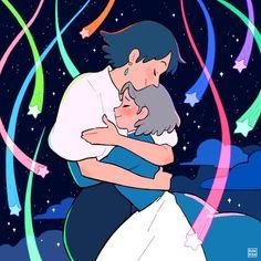 Sophie & Howl, an art print by Ranran Fanarts Anime, Anime Films, Anime Manga, Anime Art, Howl's Moving Castle, Studio Ghibli Art, Studio Ghibli Movies, Studio Ghibli Characters, Pretty Art