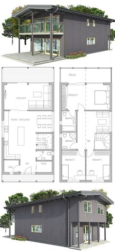 Big windows, abundance of natural light, three bedrooms. Small home plan to small and narrow lot. The upper porch is similar to what I want on the west Cabin Design, House Design, Narrow House, Big Windows, Prefab Homes, Small House Plans, My Dream Home, Planer, Future House