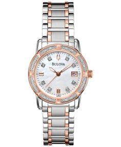 7deadf70fc8b Bulova Women s Diamond Accent Two-Tone Stainless Steel Bracelet Watch 26mm  98R199 - A Macy s Exclusive Jewelry   Watches - Watches - Macy s
