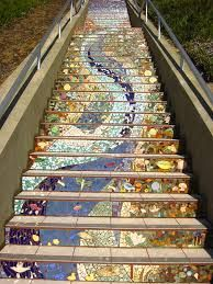 A community project in Golden Gate Heights, San Francisco to decorate a 163 step stairway with mosaic tiles. Outside Stairs, Outdoor Stairs, Mosaic Stairs, External Staircase, Tile Steps, Exterior Stairs, Stairway To Heaven, Stairway Art, Mosaic Designs