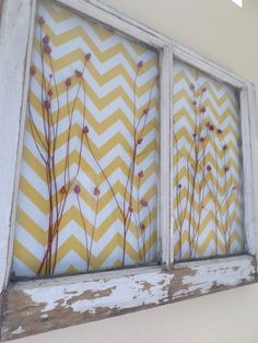 Old Window Decor Reclaimed Yellow Chevron RED by ThreeTwigsDesigns, $276.00