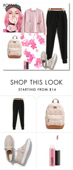 """""""Black Pants Romwe"""" by dudavagsantos ❤ liked on Polyvore featuring Benetton, Rip Curl, Keds, MAC Cosmetics and romwe"""