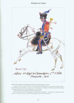 Kingdom of Naples: Plate 25. 4th Light Cavalry Regiment, Elite Company Trumpeter, 1814.