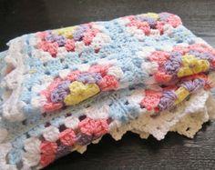 Crochet bebé manta abuela Plaza bebé afgano tejido tiro: 85 x 68 cm / 33,4 x 26,7 pulgadas, luz azul bebé cuna cubierta #2-17