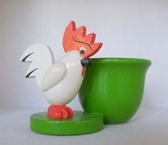 Love it Egg Cups, Rooster, Germany, Eggs, Green, Vintage, Animals, Animales, Animaux